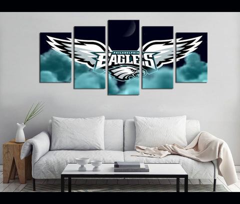5 Piece Canvas Art Philadelphia Eagles Football Canvas Wall Art Decor