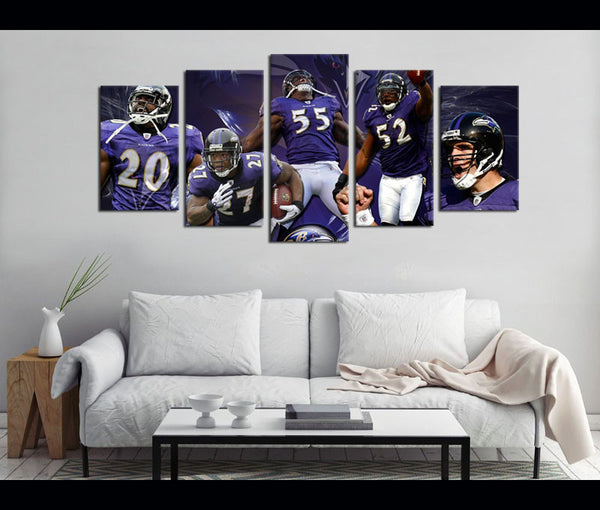 5 Piece Canvas Art Ravens Football Canvas Wall Art Decor