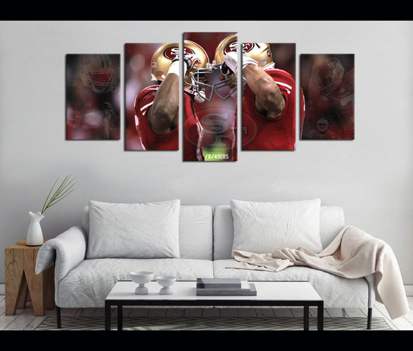5 Piece Canvas Art San Francisco 49ERS Football Canvas Wall Art Decor