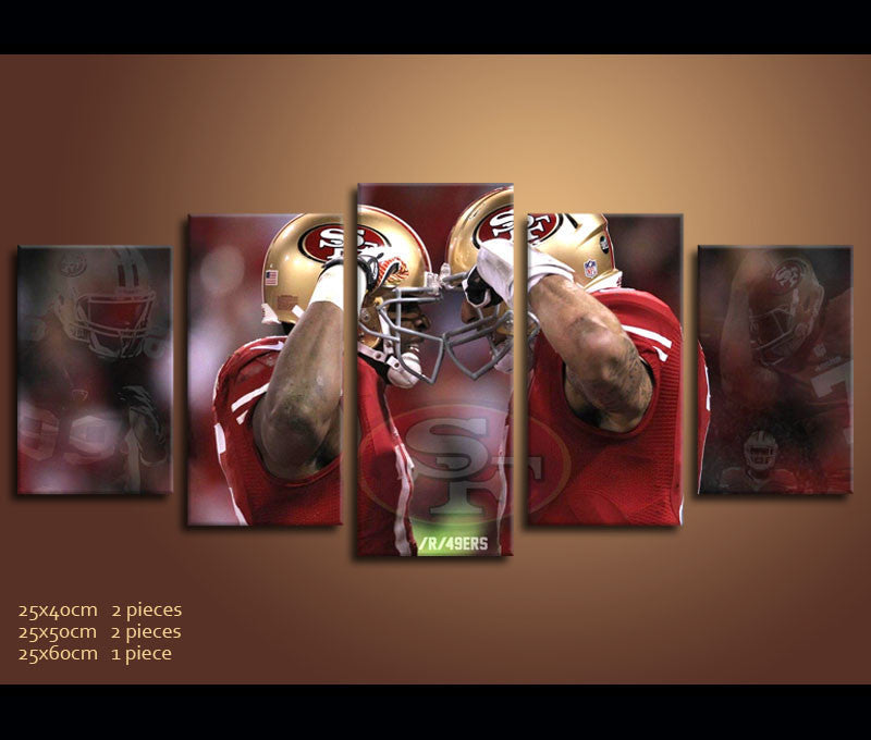 ... 5 Piece Canvas Art San Francisco 49ERS Football Canvas Wall Art Decor  ...