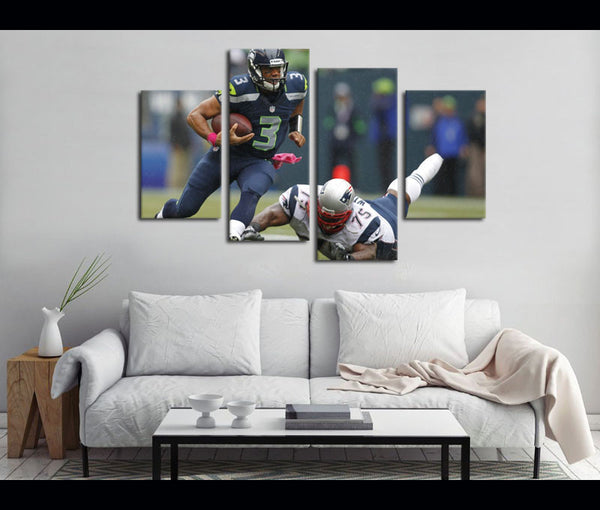 4 Piece Canvas Art Seahawks FootballCanvas Wall Art Decor