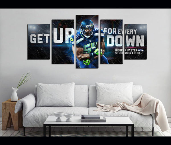 5 Piece Canvas Art Seattle Seahawks Football Canvas Wall Art Decor