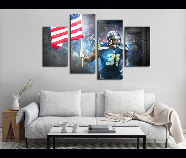 4 Piece Canvas Art Seattle Seahawks Football Canvas Wall Art Decor
