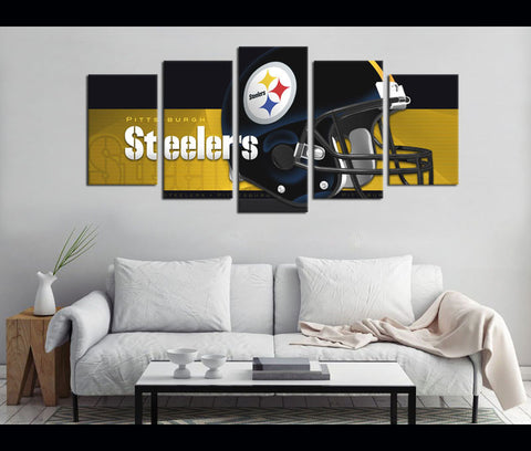 5 Piece Canvas Art Steelers Football Canvas Wall Art Decor