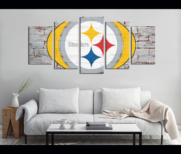5 Piece Canvas Art Steelers Football Logo Canvas Wall Art Decor