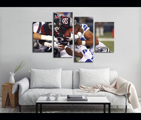 4 Piece Canvas Art Texans Football Canvas Wall Art Decor