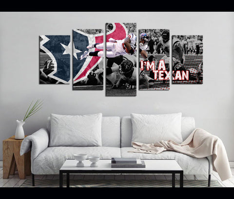 5 Piece Canvas Art Texans Football Canvas Wall Art Decor