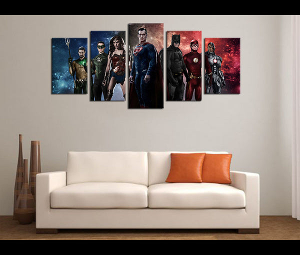 5 Pieces Canvas Art Print Justice League Movie Painting Canvas Prints Wall Art Decor