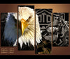 4 Piece Canvas Art Eagle and Harley Davidson Motorcycle Canvas Vehicle Wall Art Deocr