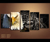5 Pieces Canvas Art Eagle and Harley Davidson Motorcycle Painting Artwork Vehicle Wall Art Decor