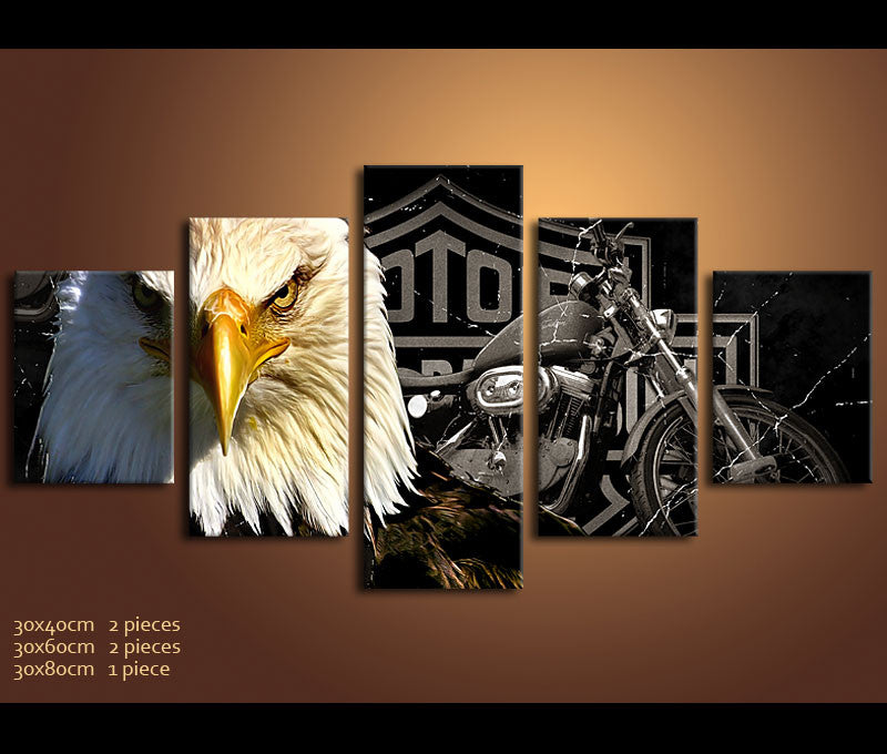 5 Pieces Vehicle Canvas Art Print Eagle And Harley