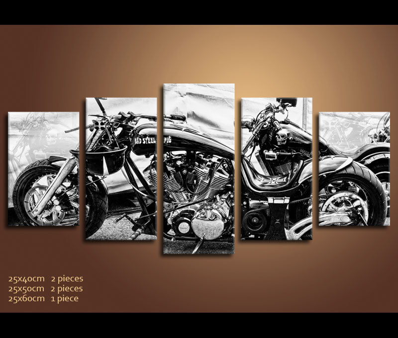 ... 5 Piece Canvas Art Motorcycle Harley Davidson Canvas Vehicle Wall Art  Decor ...