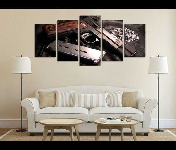 5 Piece Canvas Art Motorcycle Harley Davidson Canvas Vehicle Wall Art Decor