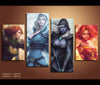 4 Pieces Dota 2 Canvas Art Game Painting Canvas Print