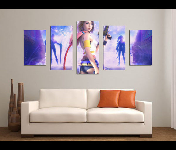 5 Pieces Yuna Final Fantasy Canvas Art Game Painting Wall Art Print