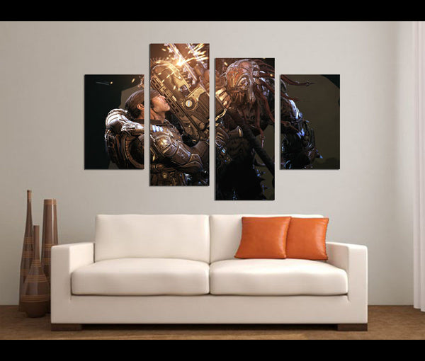 4 Pieces Gears of War Canvas Art Game Painting Wall Art Print