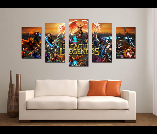 5 Pieces League of Gods Canvas Art Game Painting Wall Art Print