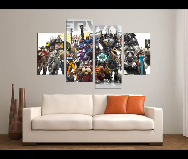 4 Pieces Canvas Art Overwatch Game Painting Canvas Wall Art