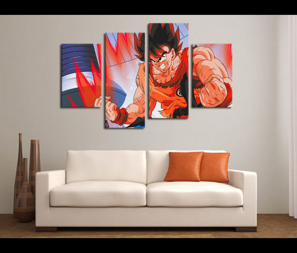 4 Piece Canvas Art Dragon Ball Z Anime Canvas Wall Art Deocr