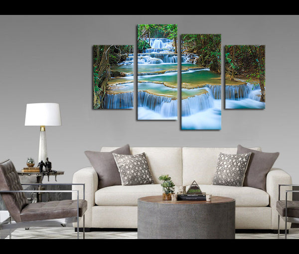 4 Pieces Blue Waterfall Canvas Art Nature Painting Wall Art Print