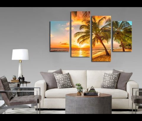 4 Pieces Sunset Beach Sea Canvas Art Nature Painting Wall Art Print