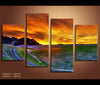 4 Pieces Sunset Sky Landscape Canvas Art Nature Painting Wall Art Print