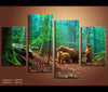 4 Pieces Brown Bears Family in Forst Canvas Art Nature Painting Wall Art Print