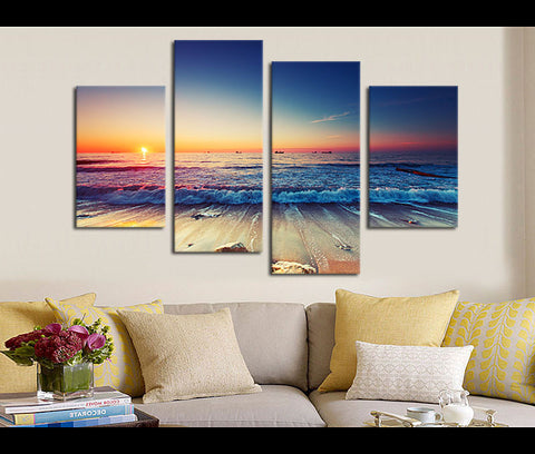 4 Pieces Sunset Sea Beach Canvas Art Nature Painting Wall Art Print