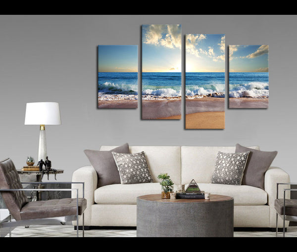 4 Pieces Sunset Beach Canvas Art Nature Painting Wall Art Print