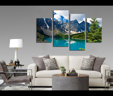 4 Pieces Snow Mountain Lake Canvas Art Nature Painting Wall Art Print