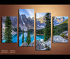 4 Pieces Blue Lake Snow Mountain Canvas Art Nature Painting Wall Art Print