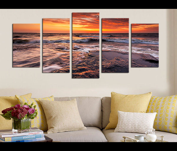 5 Pieces Canvas Art Sunset Beach Wall Art Prints Nature Painting