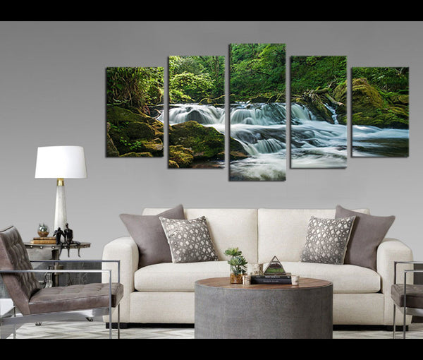 5 Pieces Canvas Art Waterfall in Forest Wall Art Prints Nature Painting