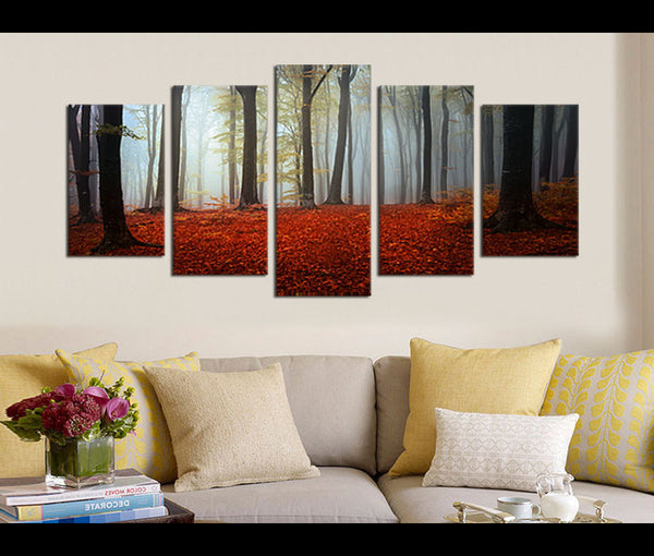 5 Pieces Canvas Art Autumn Forest Wall Art Prints Nature Painting