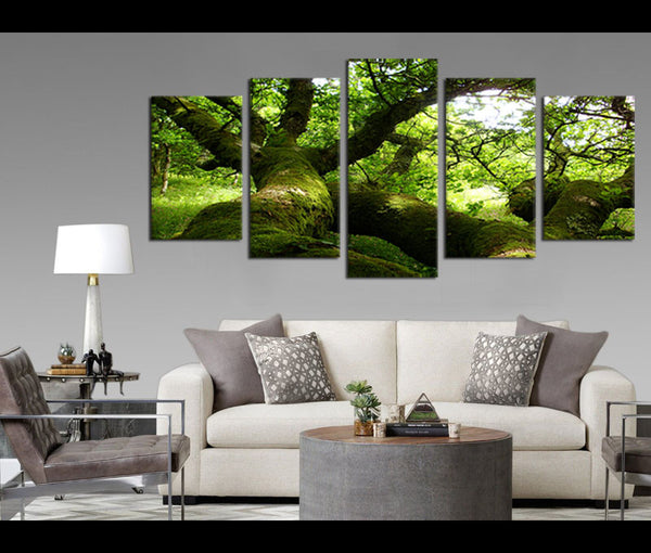 5 Pieces Canvas Art Big Oak Tree Branch Wall Art Prints Nature Painting