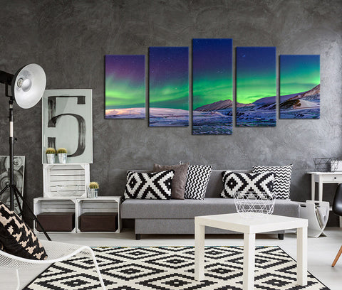 5 Pieces Canvas Art Aurora Borealis Snow Mountains Night Sky Wall Art Prints Nature Painting