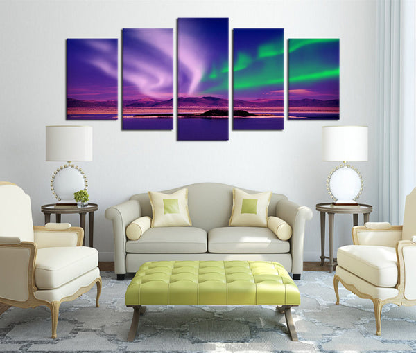 5 Pieces Canvas Art Northern Lights Aurora Borealis Wall Art Prints Nature Painting