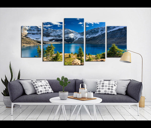 5 Pieces Canvas Art Mountain and Lake Nature Canvas Prints