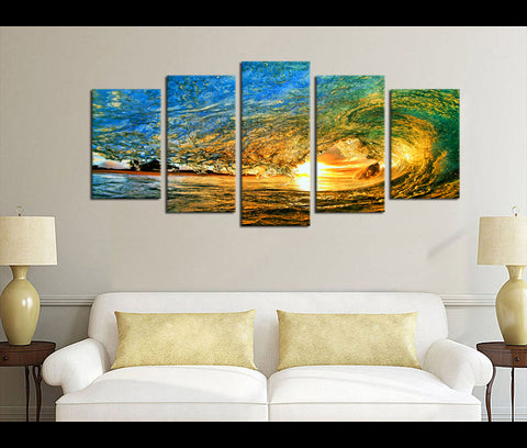 5 Pieces Canvas Art Wave Sunset Nature Canvas Prints