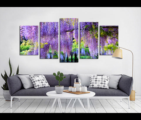 5 Pieces Canvas Art Wisteria Sinensis Nature Canvas Prints