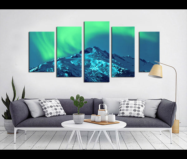 5 Pieces Colorful Aurora Borealis Canvas Art Nature Canvas Prints