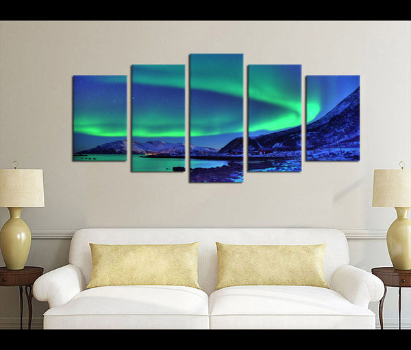 5 Pieces Canvas Art Northern Lights Nature Canvas Prints Aurora