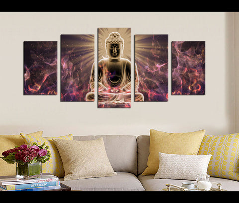 5 Pieces Buddha Canvas Art Meditation of Silent Canvas Prints