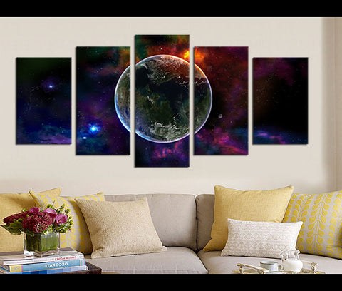 5 Pieces Space Canvas Art Planet Nebula Galaxy Nature Canvas Prints Universe