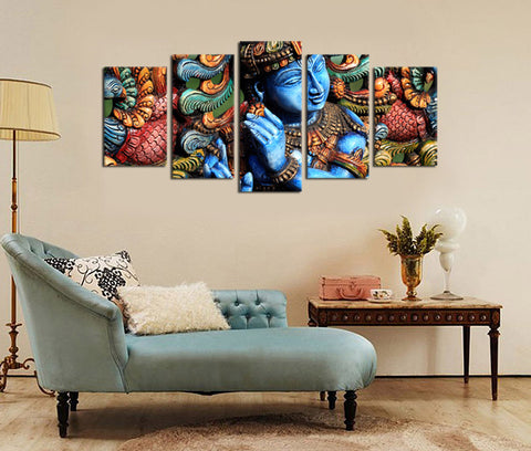 5 Pieces Buddha Statue Canvas Art Zen Canvas Prints