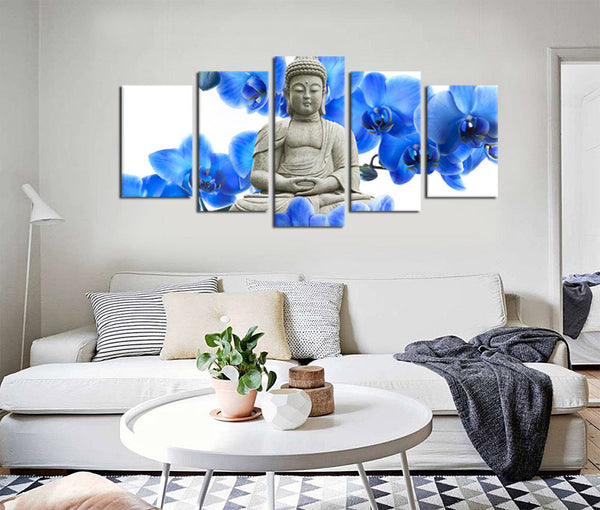 5 Pieces Zen Canvas Art Buddha Statue Canvas Prints