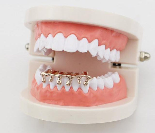 Custom 18k Gold Plated Teeth Drip Grill - Miss Hollywood's