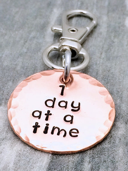 """1 day at a time"" copper sobriety keychain"