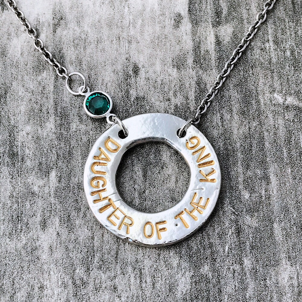 Daughter of the King pewter necklace.