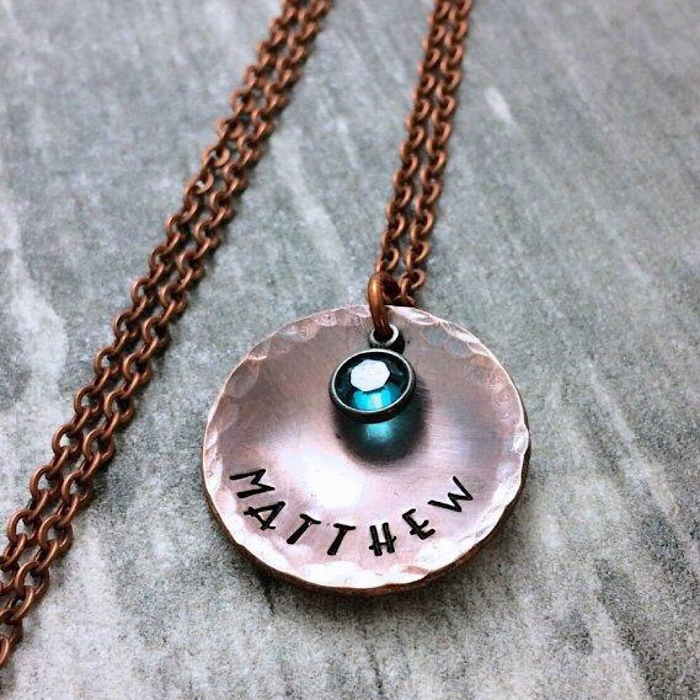 Hand Stamped Rustic Copper Necklace